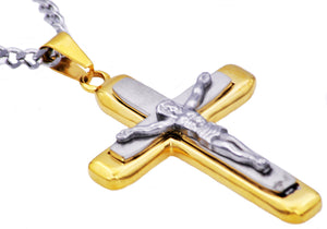 Mens Two Tone Gold Plated Stainless Steel Crucifix Pendant Necklace - Blackjack Jewelry