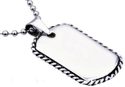 Mens Rope Border Stainless Steel Dog Tag Pendant Necklace - Blackjack Jewelry