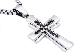 Mens Stainless Steel Cross Pendant With Black Cubic Zirconia - Blackjack Jewelry