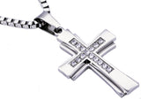 Mens Stainless Steel Cross Pendant With Cubic Zirconia