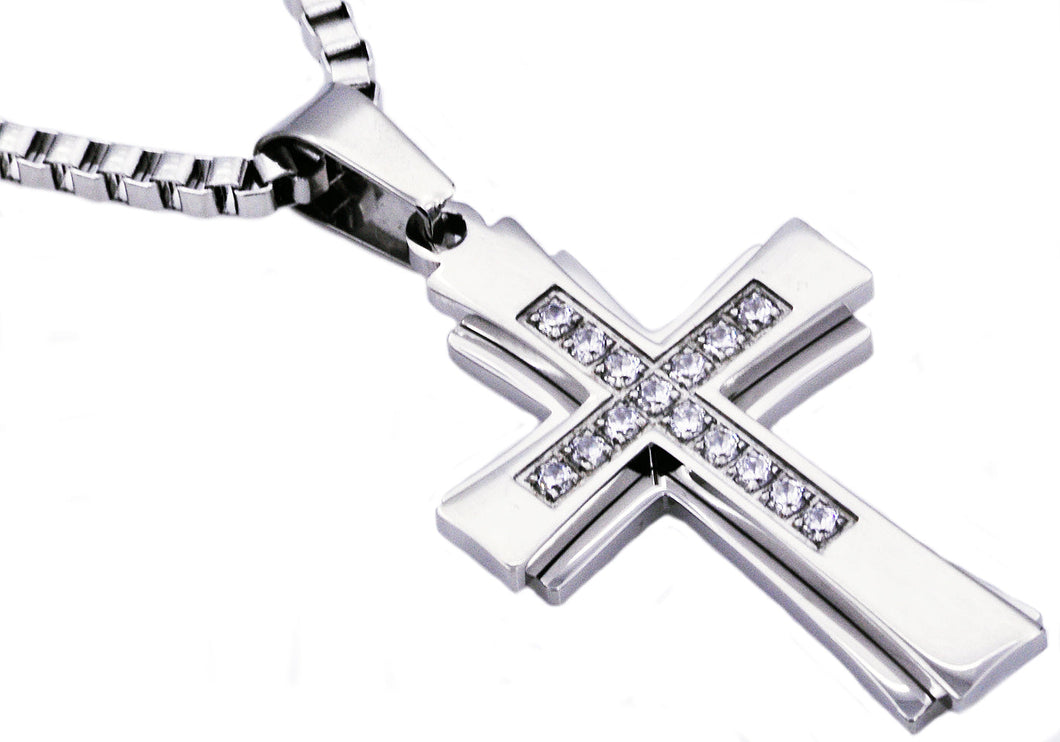 Mens Stainless Steel Cross Pendant Necklace With Cubic Zirconia - Blackjack Jewelry