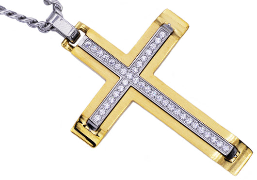 Mens gold plated stainless steel cross pendant with cubic zirconia mens gold plated stainless steel cross pendant with cubic zirconia aloadofball