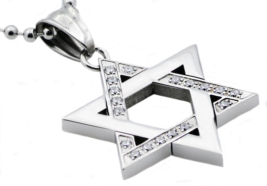 Mens Stainless Steel Magen David Star Pendant With Cubic Zirconia
