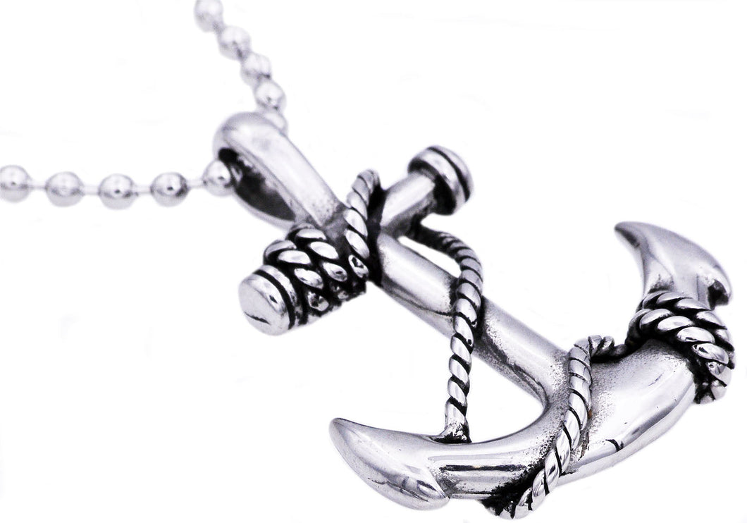 Mens Stainless Steel Anchor Pendant Necklace - Blackjack Jewelry