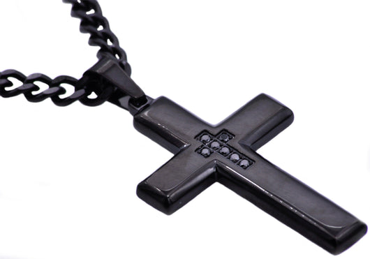 Mens Black Plated Stainless Steel Cross Pendant With Black Cubic Zirconia