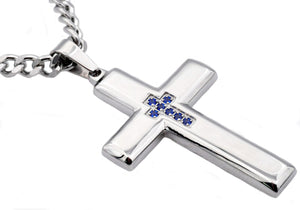Mens Polished Stainless Steel Cross Pendant Necklace With Blue Cubic Zirconia - Blackjack Jewelry