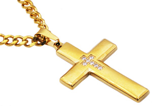 Mens Gold Stainless Steel Cross Pendant Necklace With Cubic Zirconia - Blackjack Jewelry
