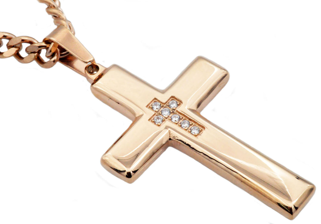 Mens Rose Gold Stainless Steel Cross Pendant necklace With Cubic Zirconia - Blackjack Jewelry