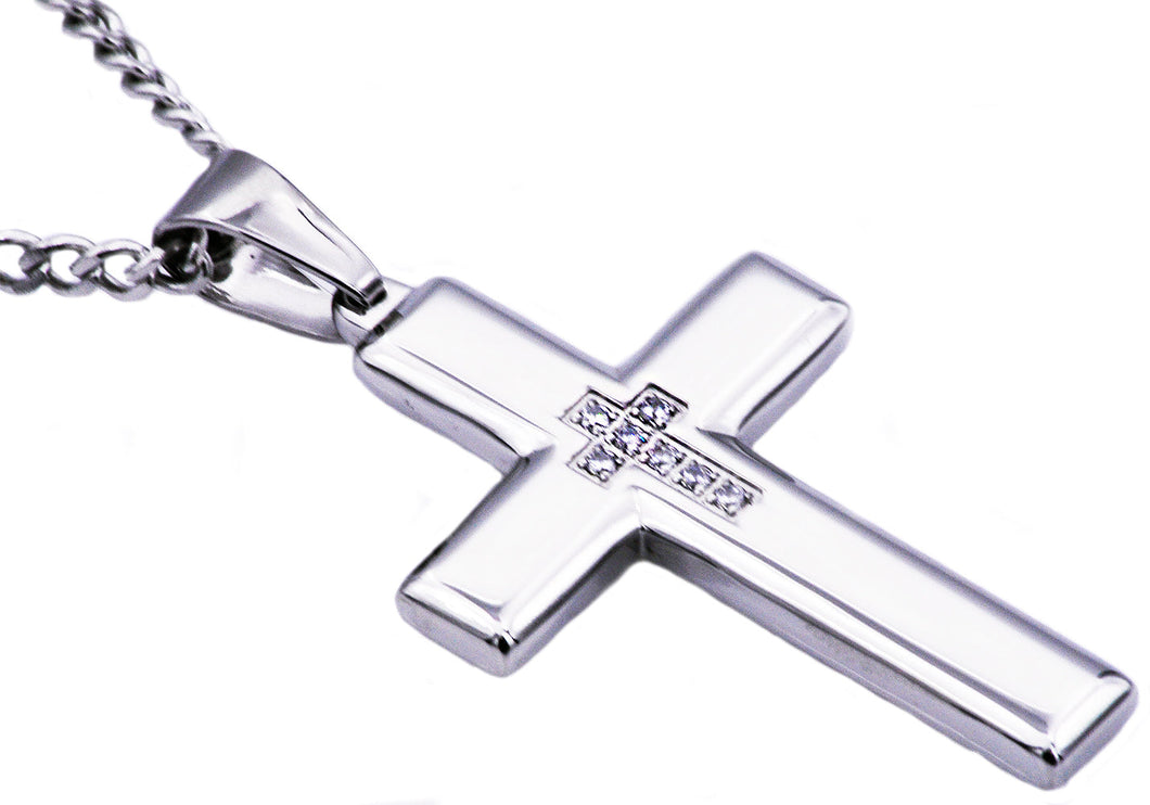 Mens Polished Stainless Steel Cross Pendant Necklace With Cubic Zirconia - Blackjack Jewelry