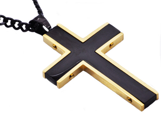 Mens Black And Gold Plated Stainless Steel Cross Pendant