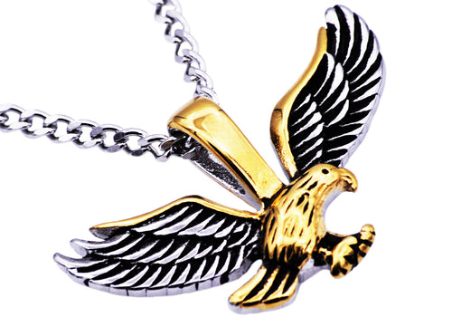 Mens Gold Stainless Steel Eagle Pendant Necklace With 24