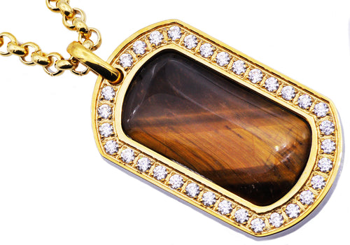 Mens Gold Plated Stainless Steel And Tiger Eye Dog Tag Pendant With Cubic Zirconia - Blackjack Jewelry