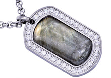 Load image into Gallery viewer, Mens Stainless Steel Labradorite Dog Tag Pendant - Blackjack Jewelry
