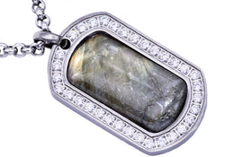 Mens Stainless Steel Labradorite Dog Tag Pendant
