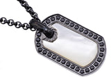 Mens Black Plated Stainless Steel And Mother Of Pearl Dog Tag Pendant With Black Cubic Zirconia