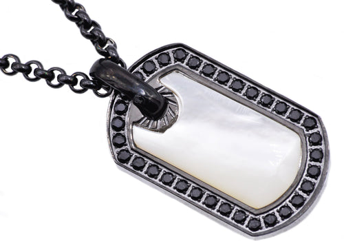 Mens Genuine Mother Of Pearl Black Plated Stainless Steel Dog Tag Pendant With Black Cubic Zirconia - Blackjack Jewelry