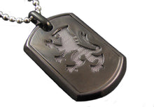Load image into Gallery viewer, Mens Black Plated Stainless Steel Dog Tag Pendant - Blackjack Jewelry