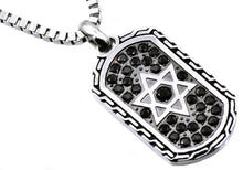 Load image into Gallery viewer, Mens Black Plated Stainless Steel Star Of David Dog Tag Pendant With Black Cubic Zirconia - Blackjack Jewelry