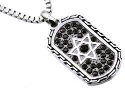 Mens Black Plated Stainless Steel Star Of David Dog Tag Pendant With Black Cubic Zirconia