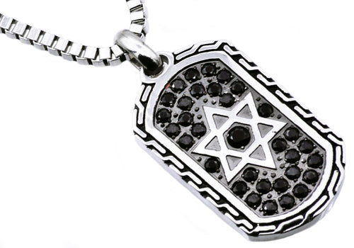 Mens Black Plated Stainless Steel Star Of David Dog Tag Pendant With Black Cubic Zirconia - Blackjack Jewelry