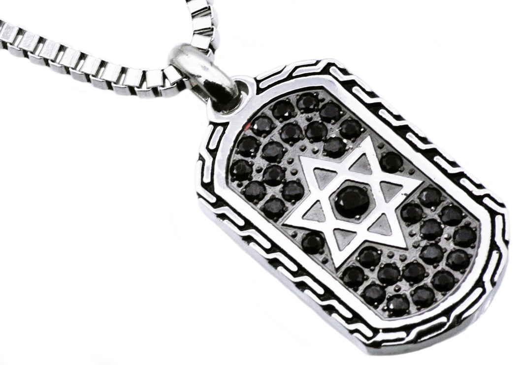 Mens Black Stainless Steel Star Of David Dog Tag Pendant With Black Cubic Zirconia - Blackjack Jewelry