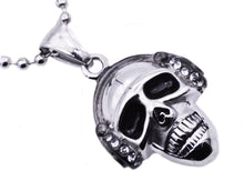 Load image into Gallery viewer, Mens Stainless Steel Skull Pendant With Cubic Zirconia - Blackjack Jewelry