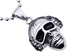 Mens Stainless Steel Skull Pendant With Cubic Zirconia - Blackjack Jewelry