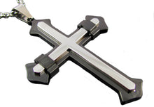 Load image into Gallery viewer, Mens Black Plated Stainless Steel Cross Pendant Necklace - Blackjack Jewelry