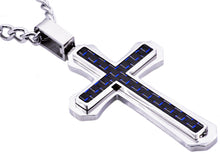 Load image into Gallery viewer, Mens Blue Carbon Fiber Stainless Steel Cross Pendant - Blackjack Jewelry