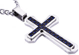 Mens Blue Carbon Fiber Stainless Steel Cross Pendant