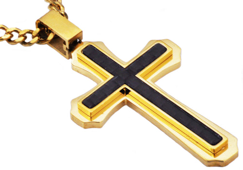 Mens Carbon Fiber Gold Plated Stainless Steel Cross Pendant - Blackjack Jewelry