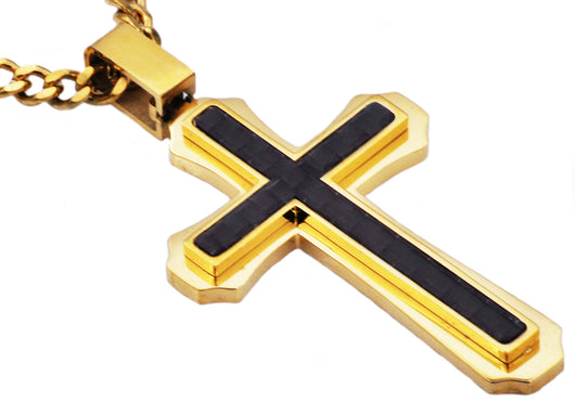 Mens Carbon Fiber Gold Plated Stainless Steel Cross Pendant