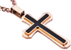 Mens Carbon Fiber Rose Gold Plated Stainless Steel Cross Pendant