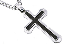 Load image into Gallery viewer, Mens Carbon Fiber Stainless Steel Cross Pendant - Blackjack Jewelry