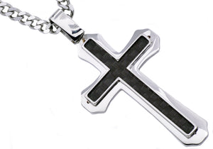 Mens Carbon Fiber Stainless Steel Cross Pendant - Blackjack Jewelry
