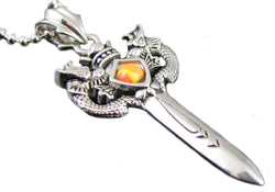 Mens Stainless Steel Sword Pendant With Amber Gemstone