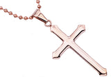 Mens Rose Plated Stainless Steel Cross Pendant