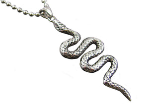 Mens Stainless Steel Snake Pendant - Blackjack Jewelry
