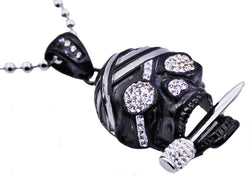 Mens Black Plated Stainless Steel Skull Pendant With Cubic Zirconia - Blackjack Jewelry