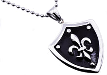 Load image into Gallery viewer, Mens Black Plated Stainless Steel Fleur De Lis Shield Pendant - Blackjack Jewelry