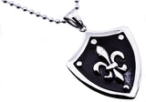 Mens Black Plated Stainless Steel Fleur De Lis Sheild Pendant