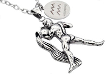Load image into Gallery viewer, Mens Stainless Steel Zodiac Aquarius Pendant - Blackjack Jewelry