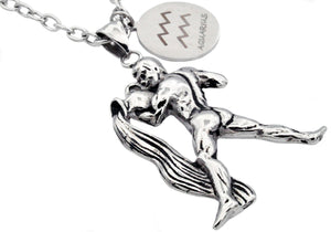 Mens Stainless Steel Zodiac Aquarius Pendant - Blackjack Jewelry