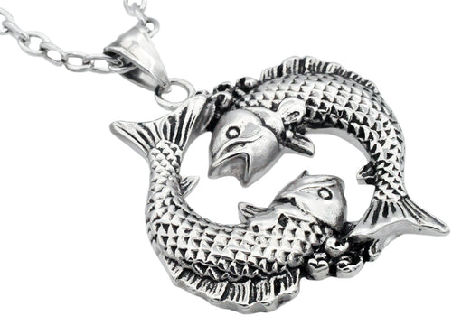Mens Stainless Steel Zodiac Pisces Pendant - Blackjack Jewelry