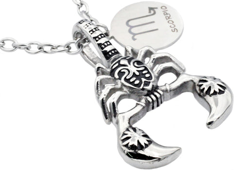 Mens Stainless Steel Zodiac Scorpio Pendant - Blackjack Jewelry
