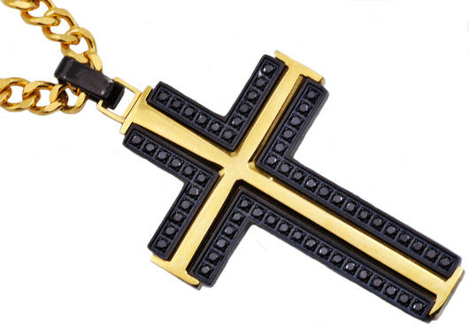 Mens Black And Gold Plated Stainless Steel Cross Pendant With Black Cubic Zirconia - Blackjack Jewelry