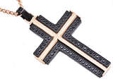 Mens Black And Rose Plated Stainless Steel Cross Pendant With Black Cubic Zirconia