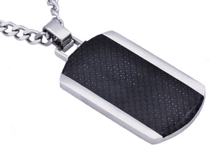 Mens Carbon Fiber Stainless Steel Dog Tag Pendant - Blackjack Jewelry