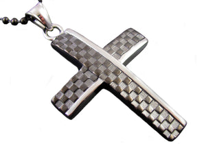 Mens Black Plated Stainless Steel Checkered Cross Pendant Necklace - Blackjack Jewelry