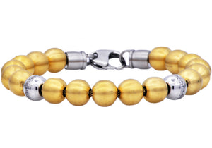 Mens Gold Stainless Steel Bead Bracelet With Cubic Zirconia - Blackjack Jewelry